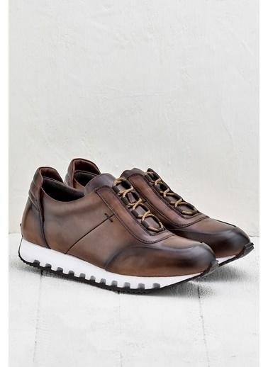 Elle %100 Deri Sneaker Ayakkabı Taba